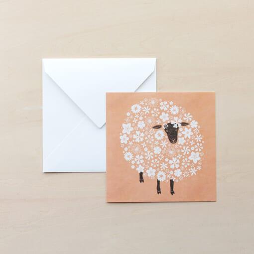 モコモコ動物のメッセージカード