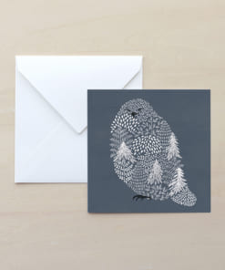 白フクロウのイラストのメッセージカード